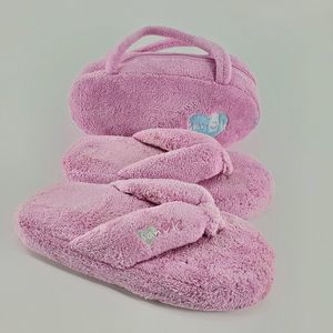 Sanuk Women's Pink Fuzzy Flip Flop Slippers + Bag